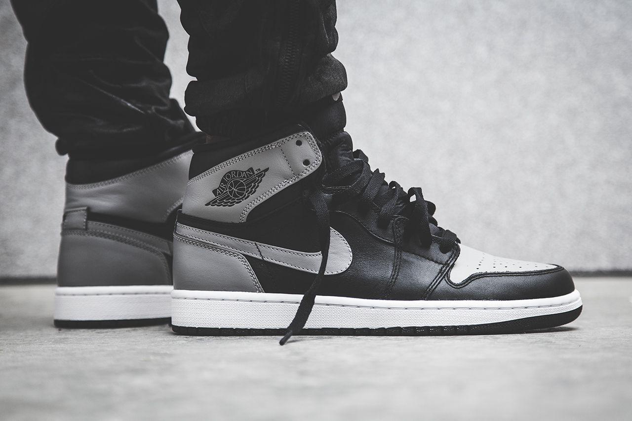 Air Jordan 1 Shadow Black Shadow Grey White Sneakers Men Fashion Air Jordans Jordans For Men