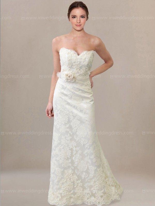 Romantic Lace Wedding Dress with Floral Sash BC612 | Pinterest ...