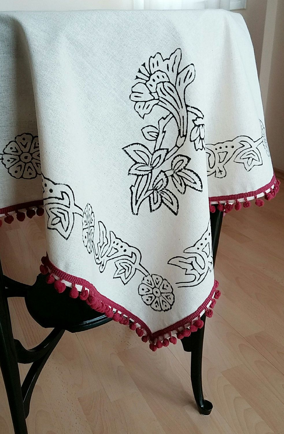 100x100cm Hand Block Printed Ivory Floral Tablecloth Plum Color Pompom  Traditional Ottoman Cotton Handcrafted Turkish Anatolian