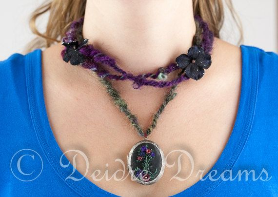 Art Yarn Necklace with Polymer Clay Rose by DeidreDreamsFiber