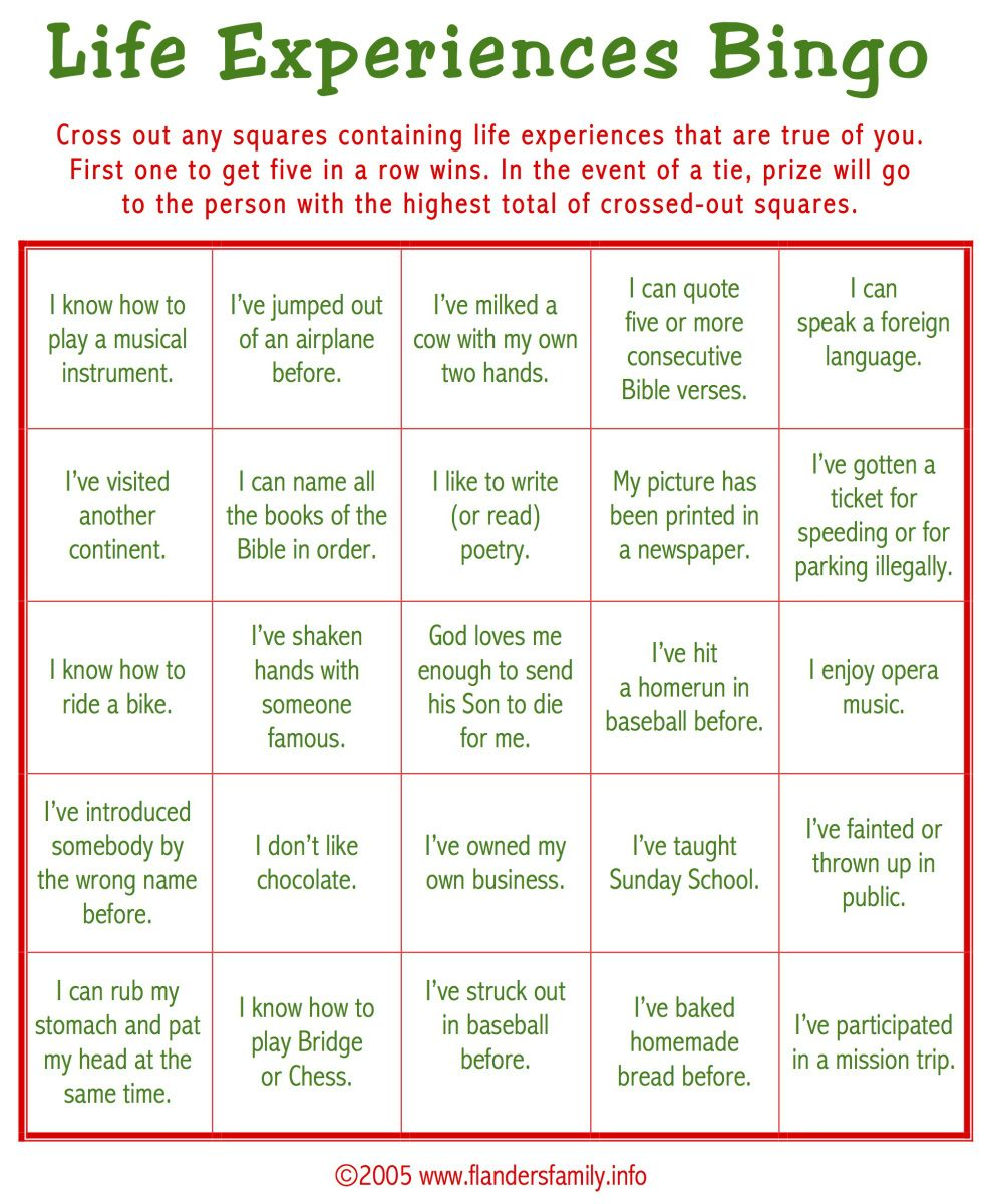 Worksheets Getting To Know You Worksheet For Adults todays game is life experiences bingo this makes a great ice free printable