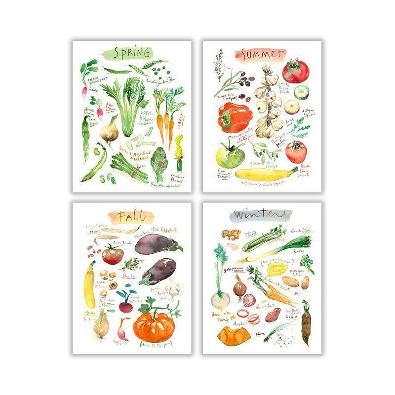 4 Seasons wall art, Set of 4 prints, Vegetable poster set, Watercolor painting, Colorful kitchen decor, Vegan food art, Veggie illustration - #colorful #painting #poster #Prints #seasons #vegetable #watercolor - #WatercolorPainting