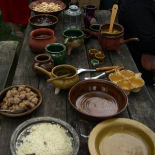Reproduction pottery table setting. | Medieval Cooking | Pinterest ...