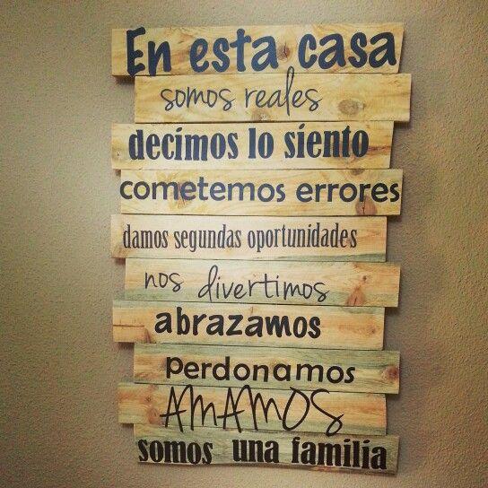 """""""Somos una familia"""" ...normas del hogar para recordar/Madera/Vinilo"""