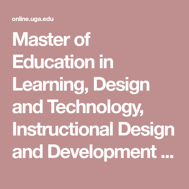 Master Of Education In Learning Design And Technology