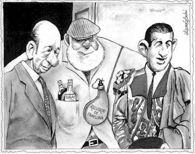 Hemingway con Antonio Ordóñez y El Niño de la Palma en la Goyesca de Ronda, visto por Idígoras y Pachi