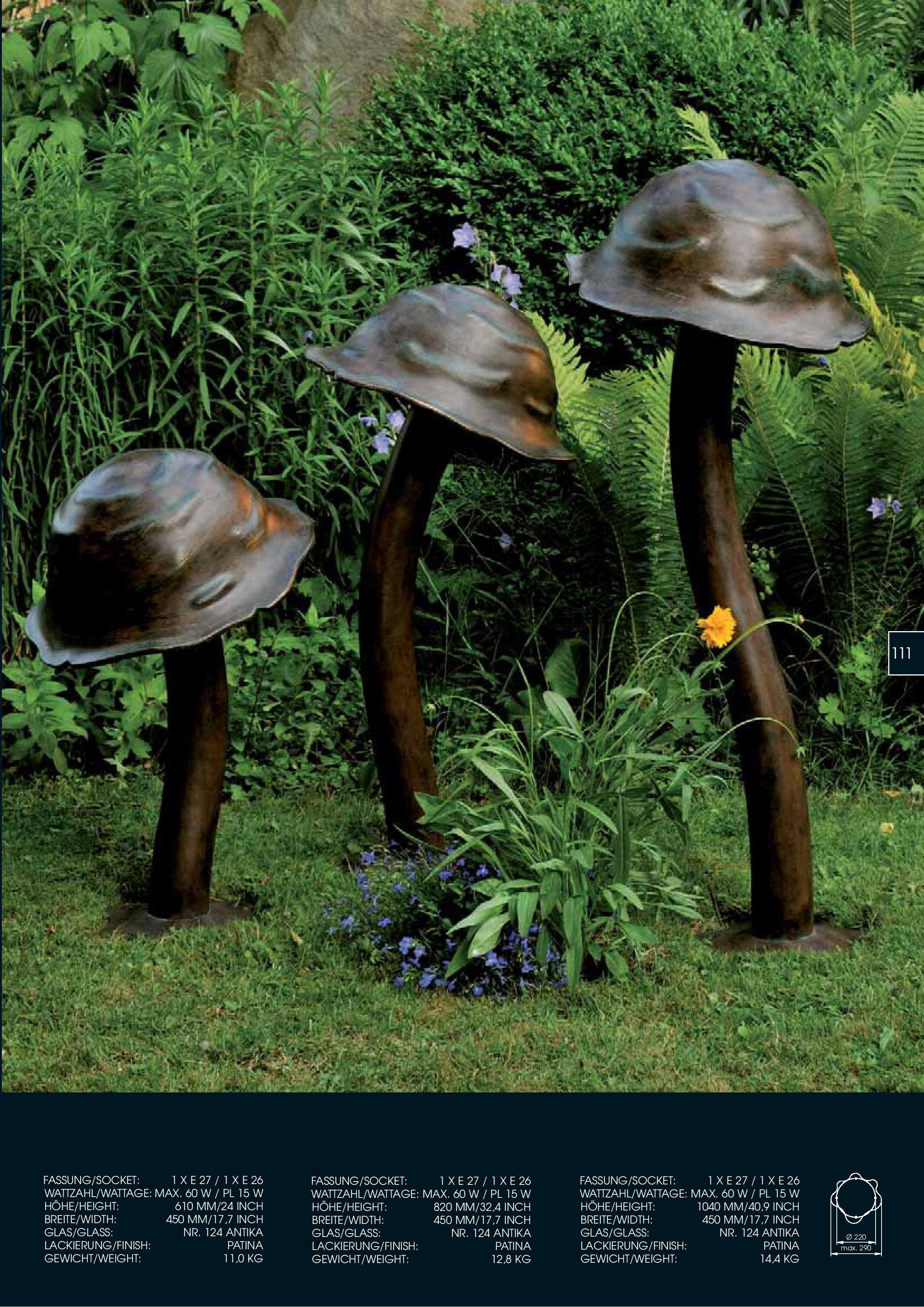 Bollard Extruded Copper Mushroom Type Antique Finishing Outdoor Leuchten Katalog