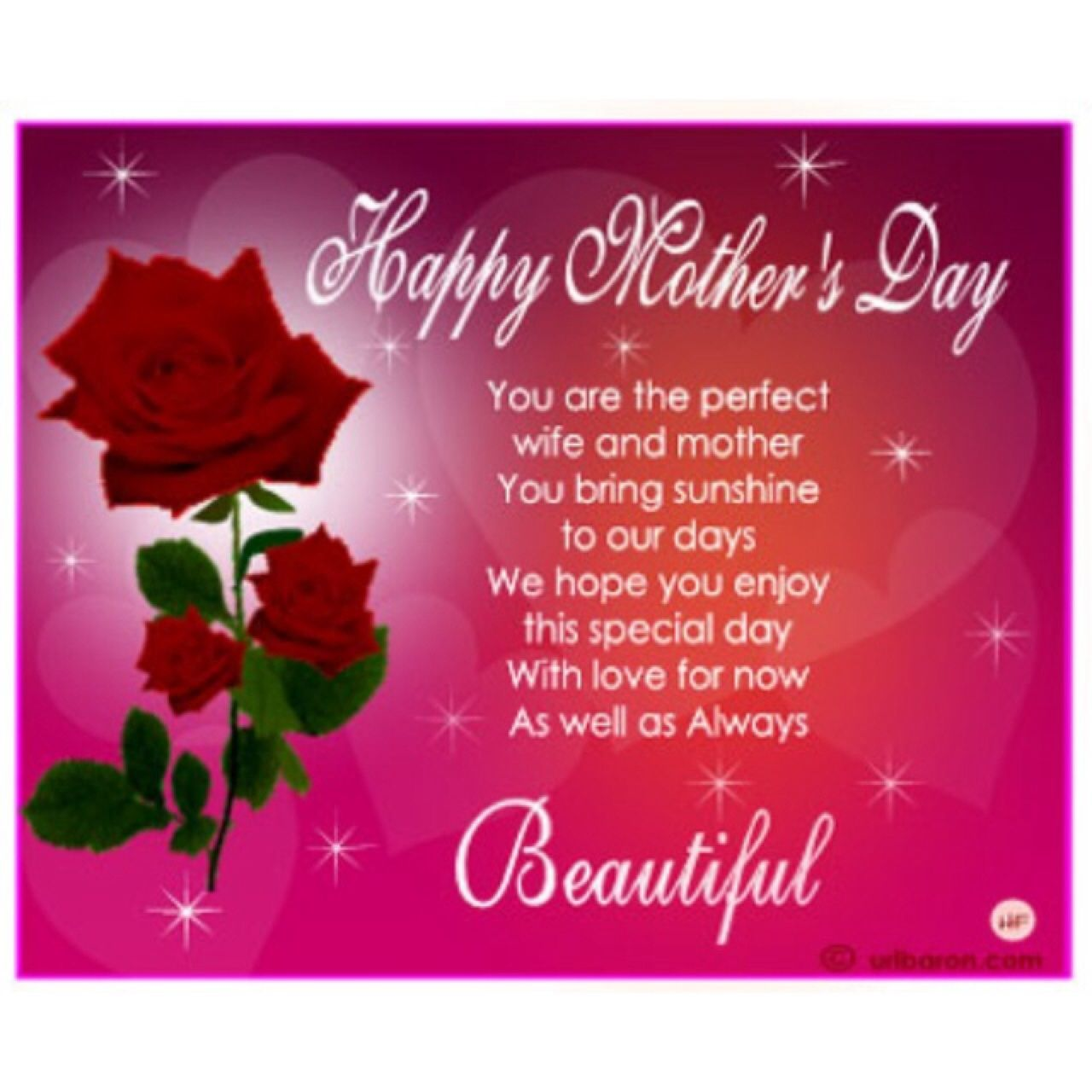 Happy mothers day you are a perfect wife and a mother know that mothers day wife ecard mothers day cards for wife mothers day greetings virtual roses kristyandbryce Gallery