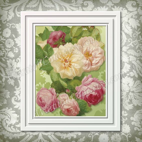Printable Wall Art Rose Digital Instant Download by WaratahLane  Lemon Sorbet Pink rose home décor  print it yourself Shabby chic  8x10 pretty print Green cream Floral Rosa Bella