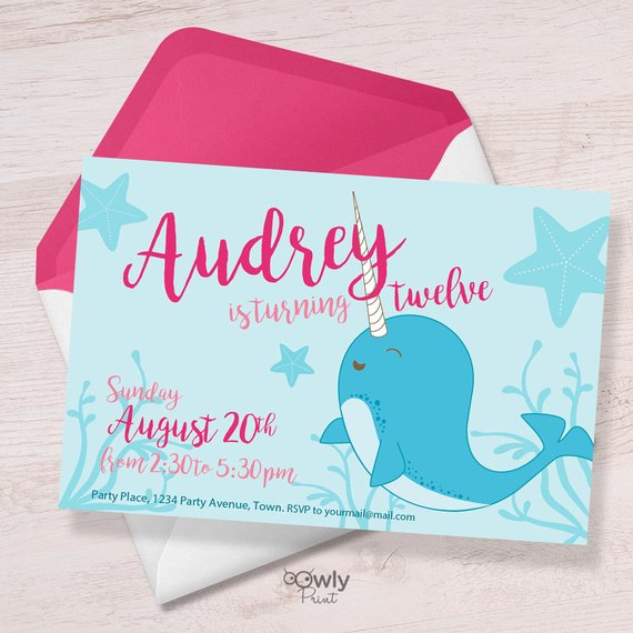 Ocean Invite Under the Sea Birthday Invitation Printable or Printed Narwhal Party Invitation Narwhal Birthday Invitation