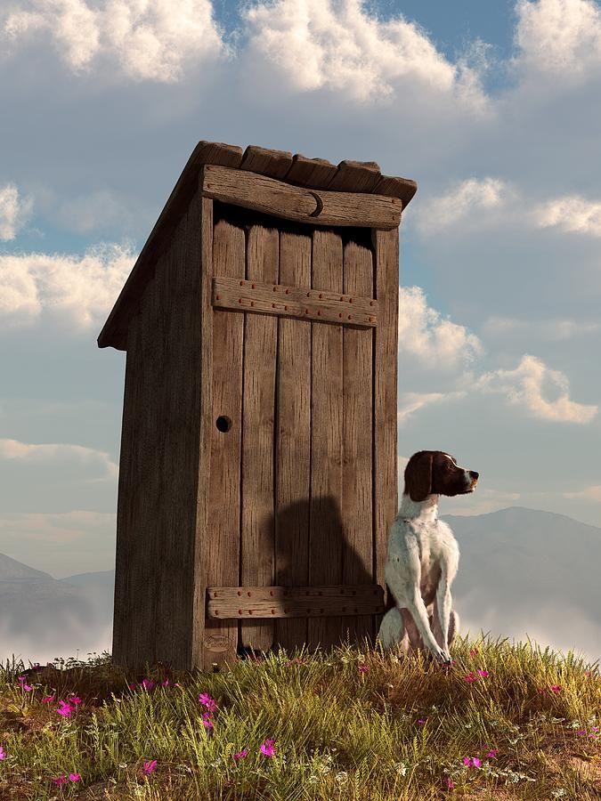 Dog Guarding An Outhouse Digital Art