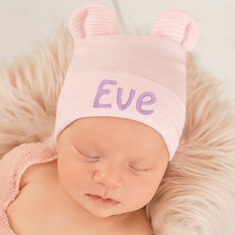 0173e63c29c5 Personalized Pink and White Striped Bear Ear Newborn Girl Hospital ...