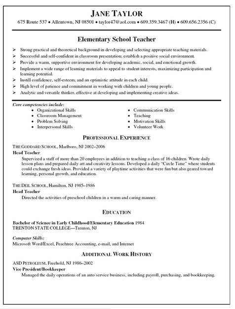Elementary Teacher Resume Templates  Teacher Resume Templates