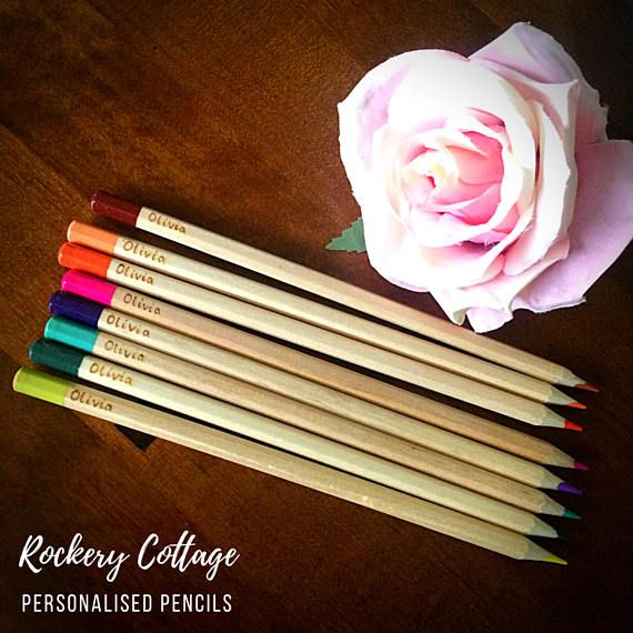 Personalised Colouring Pencils 12 Mixed Customised With A Name Or Words Of Your Choice Childs Toy Stocking Stuffer Fun By Rockerycottage