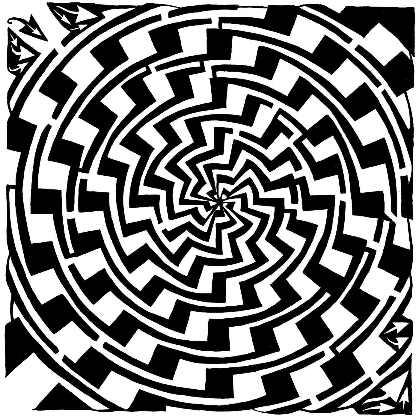 yonatan frimer jagged swirl optical illusion maze optical