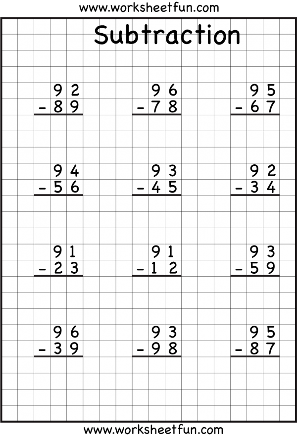 subtraction regrouping Common core math – 3 Digit Subtraction Without Regrouping Worksheets