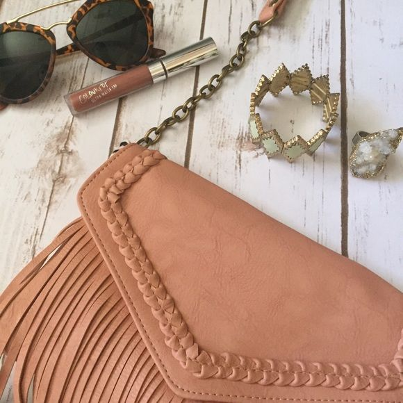 Blush Fringe Bag Blush fringe crossbody messenger style bag with adjustable straps and chain details! Bags