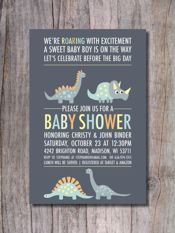 Dinosaur Baby Shower Invitation   Modern Via Etsy