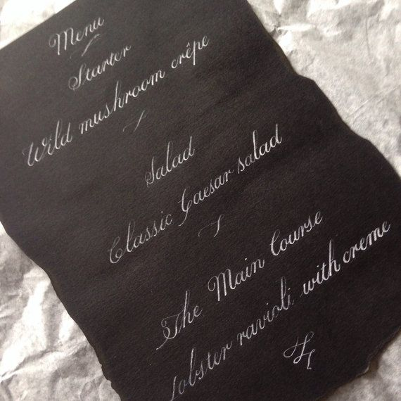 Custom calligraphy in white ink on black paper for by InkyLetter