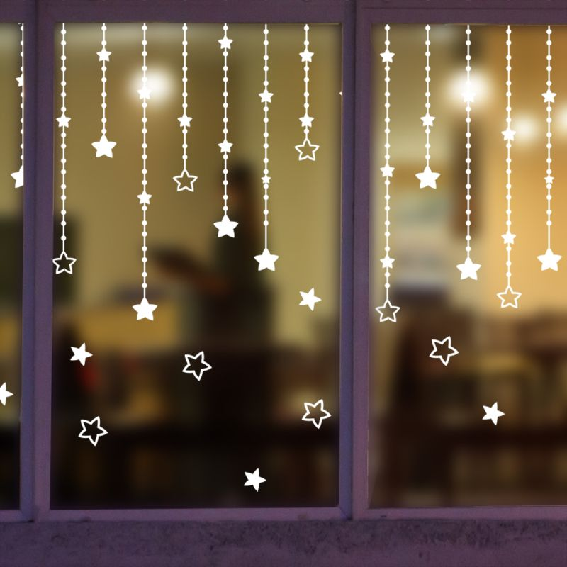 Tile Decoration Stickers Extraordinary New Year Merry Christmas Glass Window Star Sticker Wall Stickers Decorating Inspiration
