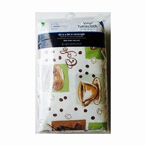 Coffee Themed Easy Care Vinyl Tablecloth   X Rectangle, New, Free Shippi