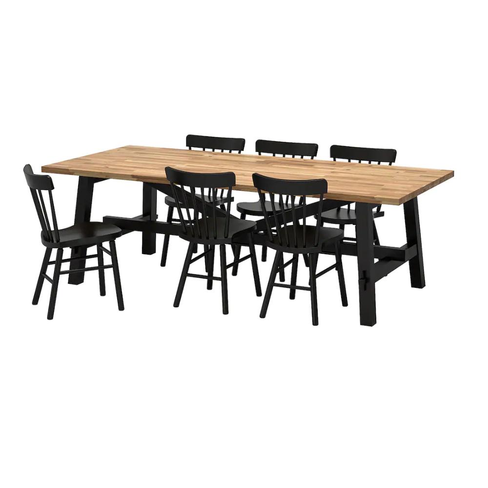 7€_SKOGSTA / NORRARYD Table et 7 chaises - acacia, noir - IKEA
