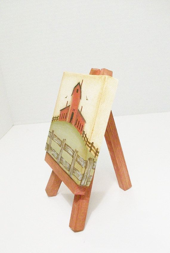 Mini Canvas Primitive Barn Painting With by ToletallyPainted