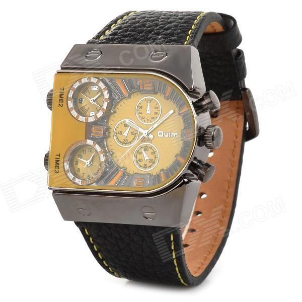 Oulm 9315 Creative Men's 3-Zone Time Display Quartz Analog Wrist Watch - Black + Yellow