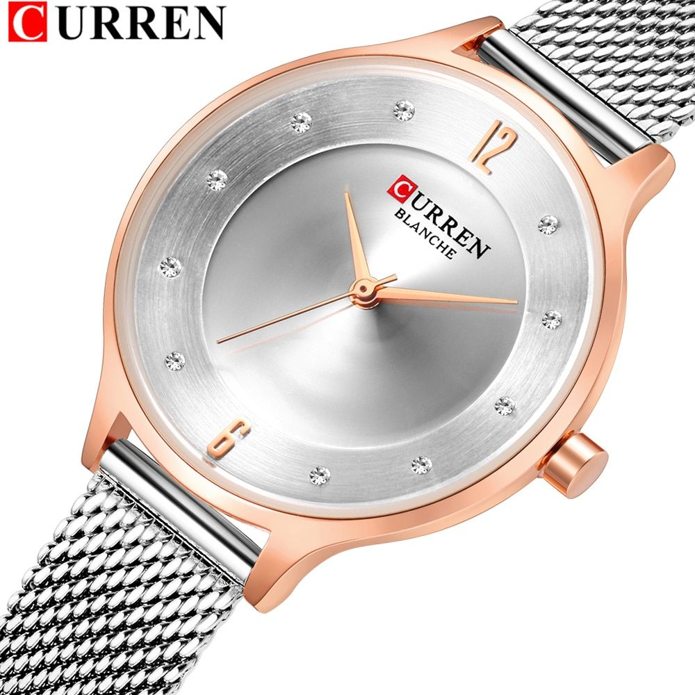 Curren 9036 Fashion Casual Stainless Steel Mesh Watches Womens Dress Rhinestone Quartz Wristwatch Ladies Gifts Bayan Kol Saati Stainless Steel Mesh Quartz Watch Steel Mesh