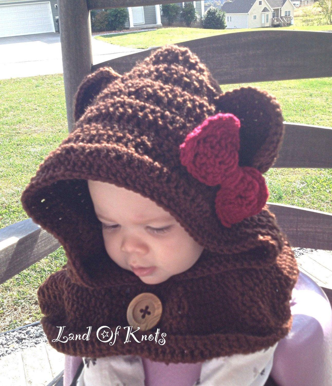 Crochet bear cowl, hooded scarf, bear scarf, bear cowl, hooded cowl ...