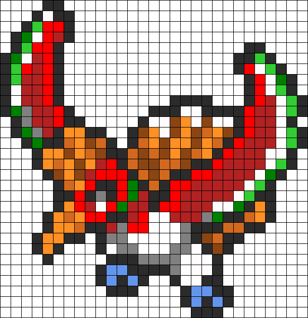 Hooh Perler Bead Pattern Bead Sprite Pixel Art Pokemon
