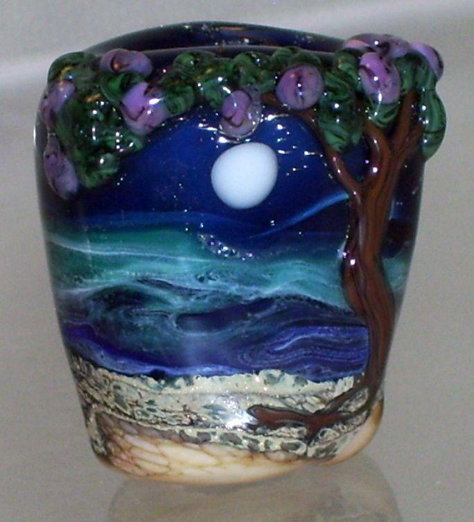 WSTGA~MOON BAY~TREE SEA European charm handmade lampwork focal glass bead SRA #Jewelry #Beads #Deal By Molly Cooley
