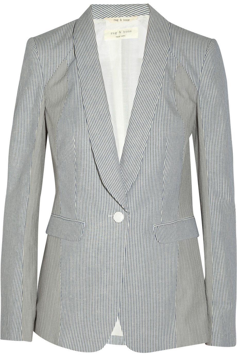 Rag & bone|Jefferson striped cotton and linen-blend blazer|NET-A-PORTER.COM