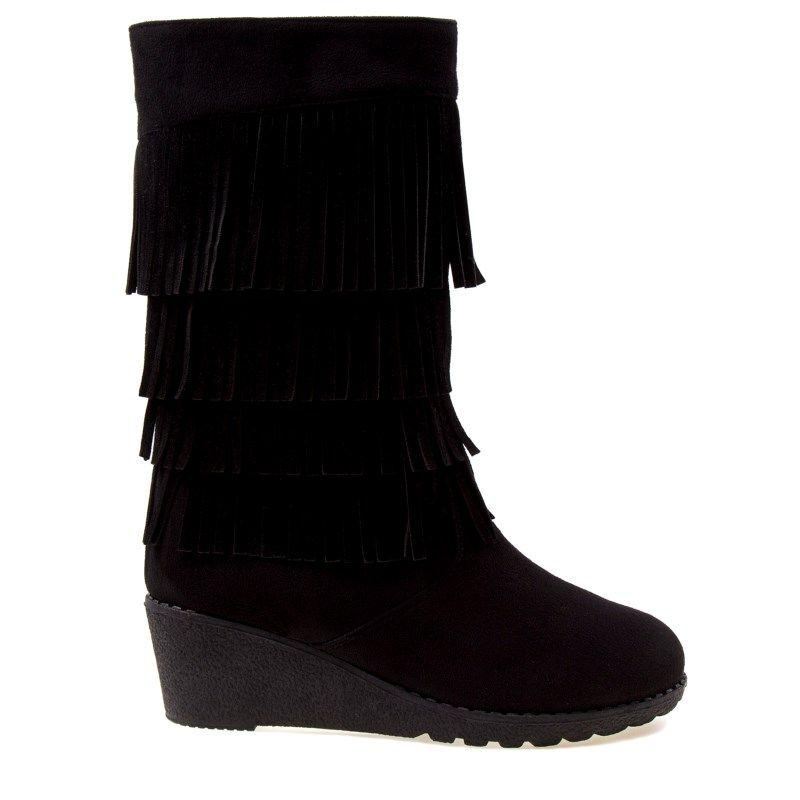 Kensie Girl Kids' Fringe Wedge Boot Pre/Grade School Boots (Black Suede)