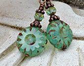 Blaugrün Böhmisches Glas Tropfen Ohrringe - Sea Foam, Antik Kupfer, böhmische, Geschenk für sie, Boho-Chic