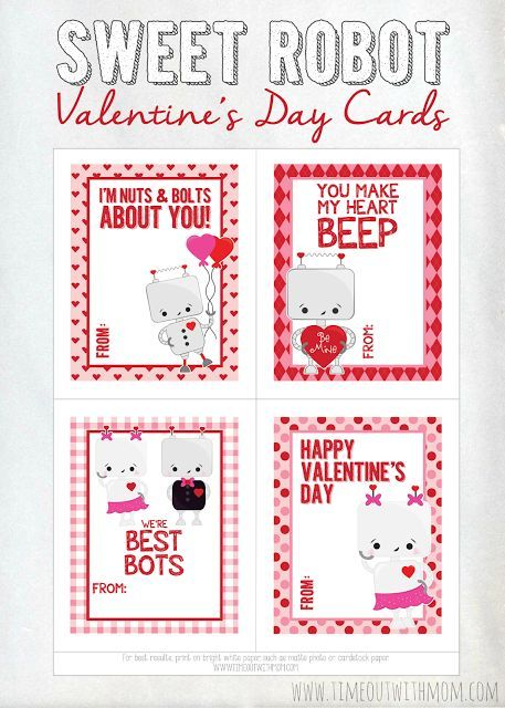 Sweet Robot Valentine S Day Cards Printable With Images