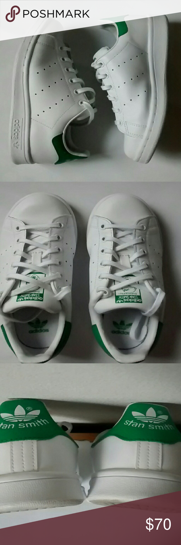 Adidas Stan Smith Worn once, please view pics which show excellent condition, these are big kids size 5 Adidas Shoes Sneakers