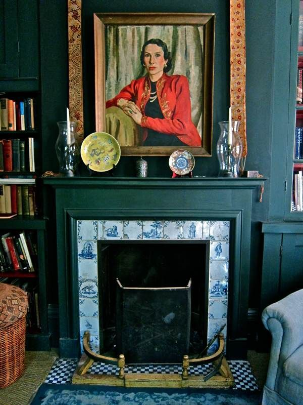 Bold Paint And Vintage Blue Porcelain Tiles For The Fireplace In