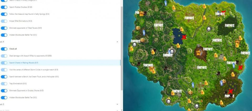 Here S A Map That Shows You How To Complete Every Weekly Challenge In Fortnite S Season 4 Season 4 Seasons Challenges