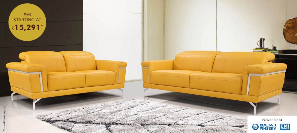 Surely Within Your Reach A 3 1 1 Faux Leather Sofa With Stainless Steel Base At Rs 15291 Emi Only Online Furniture Stores Online Furniture Faux Leather Sofa