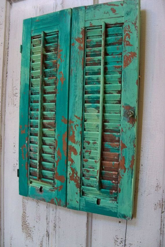 Calypso Blue Distressed Shutter Wooden Hand Painted Very Distressed Home  Decor Anita Spero