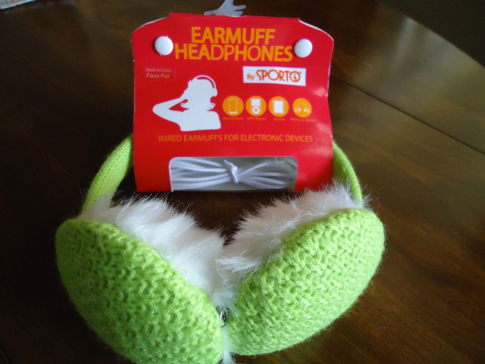 EARMUFF HEADPHONES by SPORTO (Macys) Lt.  Lime & White Color New #Sporto