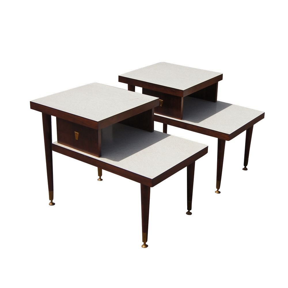 (2) Vintage Mid Century Modern Two Tier End Tables