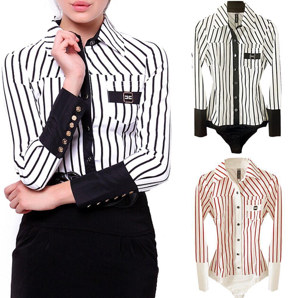 Stripe Office School Formal Bodysuit Smart Work Blouse Shirt ... c34b1b953