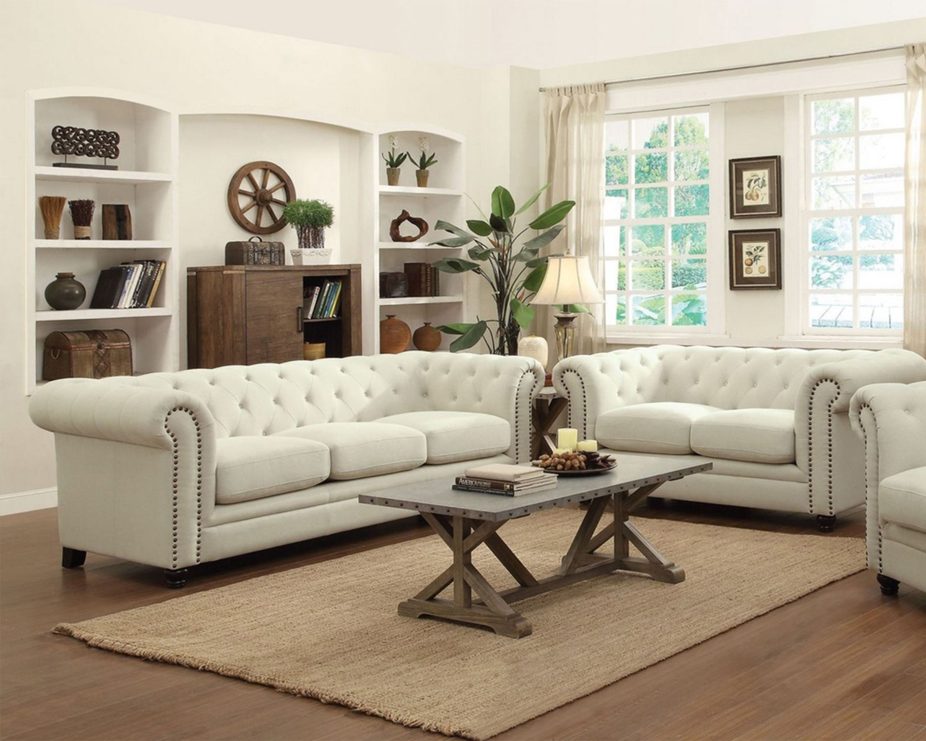 Beauty Living Room Furniture Sets With White Fabric Chesterfield ...