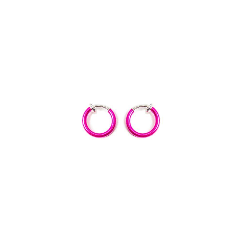 Nose accessories without piercing  Nonpiercing Micro Size Hoops Anodized Hot Pink Color  Perfect for