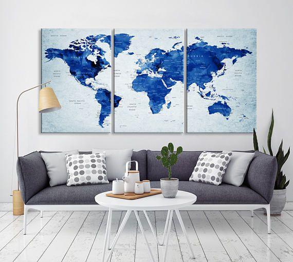 Navy Blue Push Pin World Map Canvas Print Extra Wall Art Push