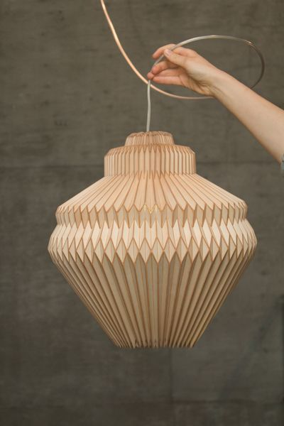 Accordion lamp - from Accordion collection collaboration between designer Elisa Strozyk and artist Sebastian Neeb. New wood experience