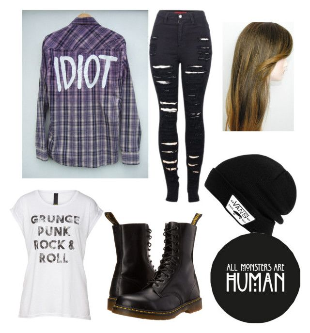 """concert"" by kayleeeezz ❤ liked on Polyvore featuring 2LUV, Dr. Martens and Vans"
