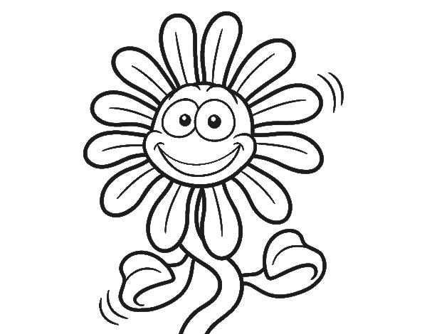 Dibujo de Flor animada para Colorear   dibujos   Pinterest
